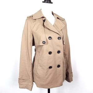 Liz Claiborne Double Breasted Short Trench Coat